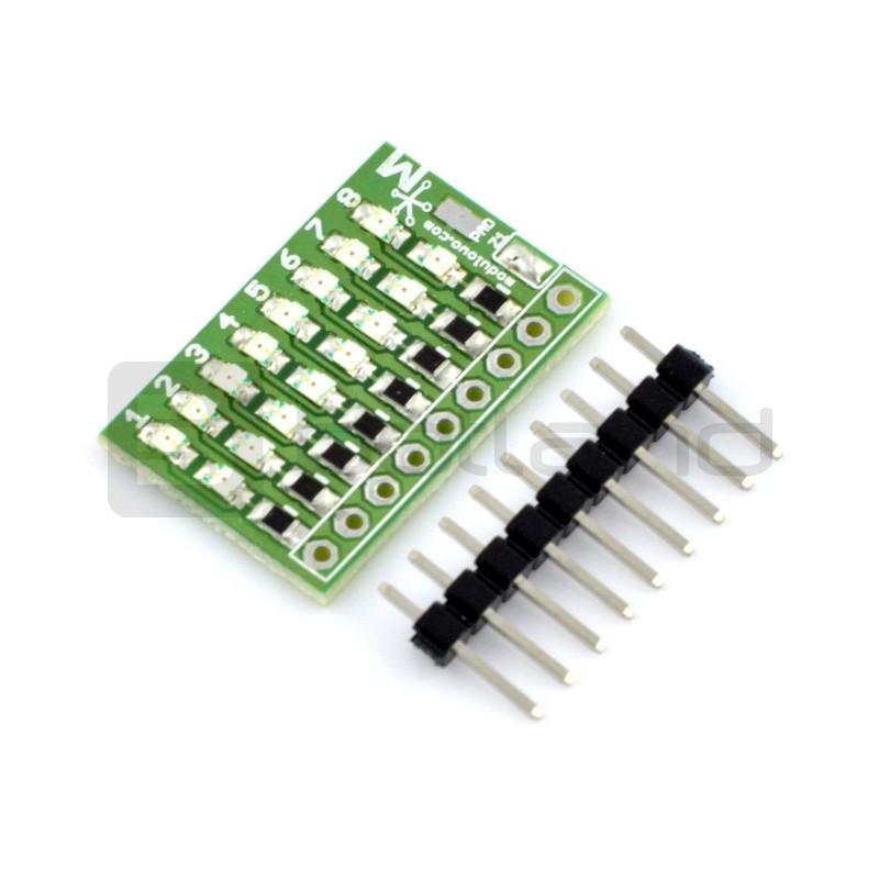 8-kanałowy tester logiczny LED, 2-kierunkowy - MOD-18