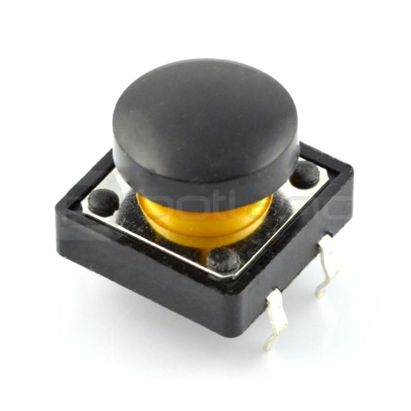 Tact Switch 12x12mm z nasadką - okrągły czarny