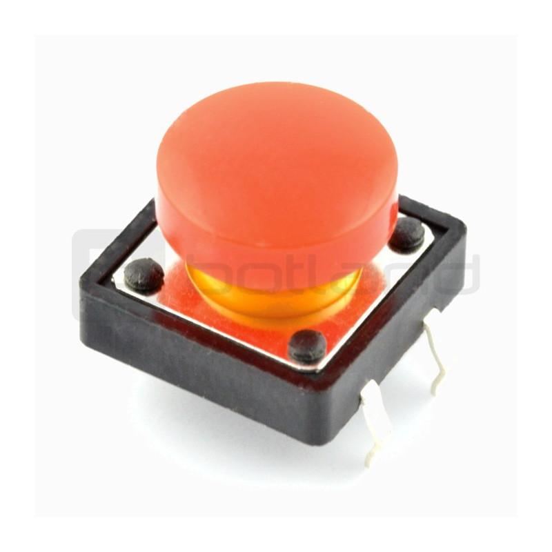Tact Switch 12x12mm z nasadką - okrągły czerwony