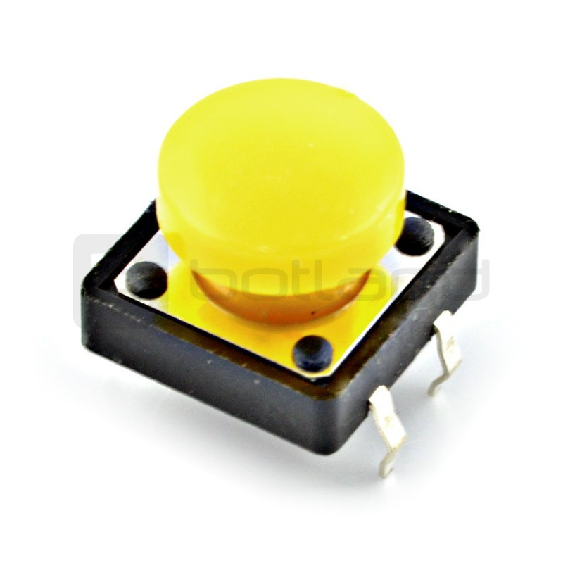 Tact Switch 12x12mm with a cap - round yellow