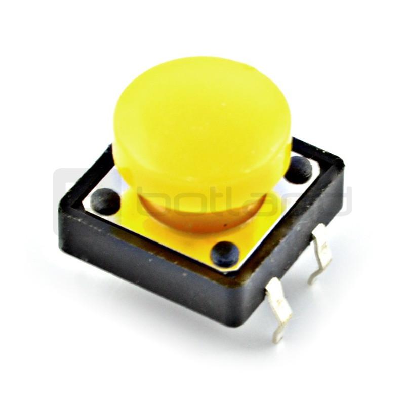 Tact Switch 12x12mm z nasadką - okrągły żółty