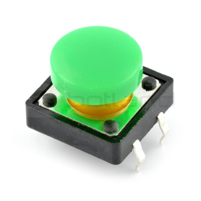 Tact Switch 12x12mm z nasadką - okrągły zielony