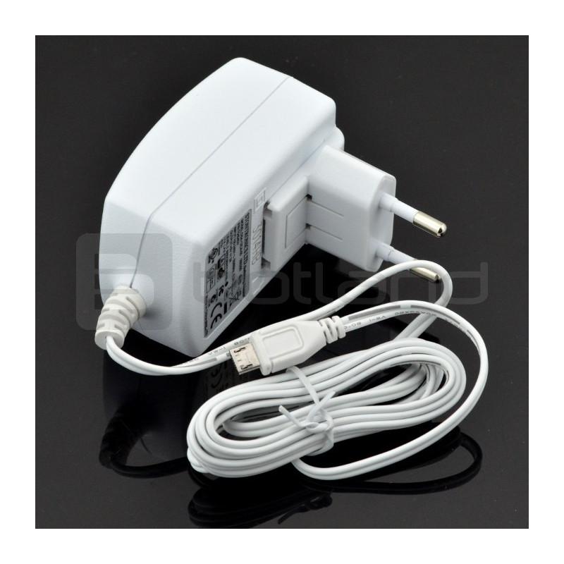 Zasilacz microUSB 5V 2A Raspberry Pi 2/B+/Zero oryginalny T5454DV - biały