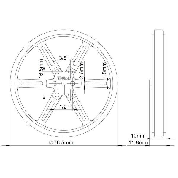 Pololu 80x10mm Wheels