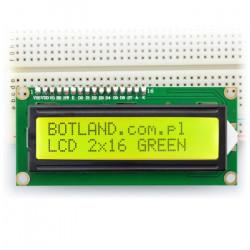 Wyświetlacz LCD 2x16 znaków zielony ze złączami