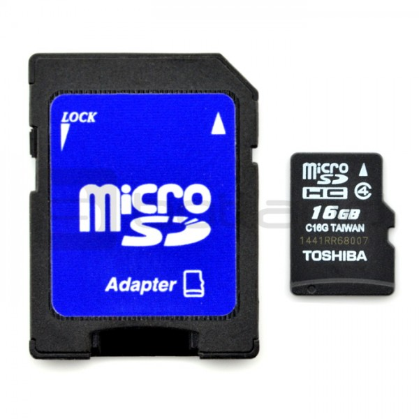 Toshiba Microsd 16gb 15mb S Class 4 Memory Card With Adapter