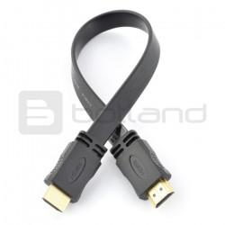 Przewód HDMI - płaski, czarny dł. 33 cm
