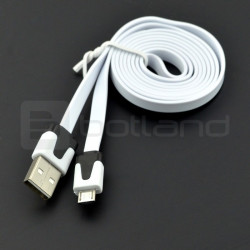 Przewód USB A - microUSB Blow płaski - 1 m