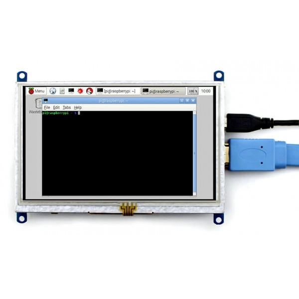 Ekran dotykowy rezystancyjny LCD TFT 5'' 800x480px HDMI + USB Rev  1 1 dla  Raspberry Pi 3/2/B+