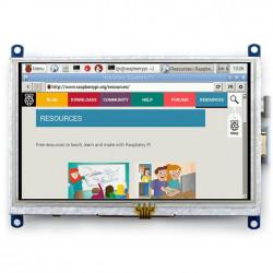 """Ekran dotykowy rezystancyjny LCD TFT 5"""" 800x480px HDMI + USB dla Raspberry Pi 2/B+"""