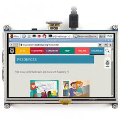 """Ekran dotykowy rezystancyjny LCD TFT 5"""" 800x480px HDMI + GPIO dla Raspberry Pi 2/B+"""