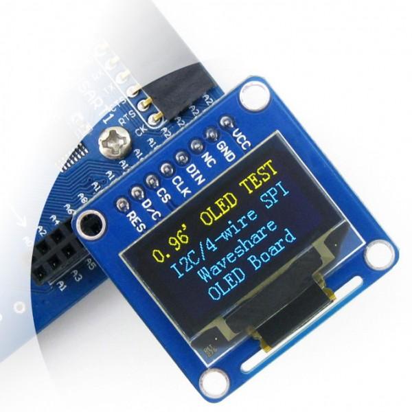 Wyświetlacz OLED dwukolorowy graficzny 0,96'' (B) 128x64px SPI/I2C- proste  złącza