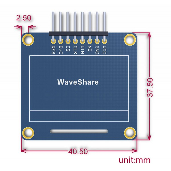 OLED display graphic blue 1 3 '' (A) 128x64px SPI / I2C - angled connectors_