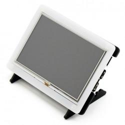 """Ekran dotykowy rezystancyjny LCD TFT 5"""" 800x480px HDMI + USB dla Raspberry Pi 2/B+ oraz czarno-biała obudowa"""