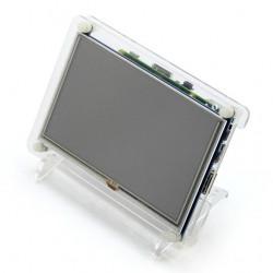 """Ekran dotykowy rezystancyjny LCD TFT 5"""" 800x480px HDMI + USB dla Raspberry Pi 2/B+ oraz przezroczysta obudowa"""