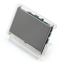 "Resistive touch screen TFT LCD display 5"" 800x480px HDMI + USB for Raspberry Pi 2/B+ transparent case"