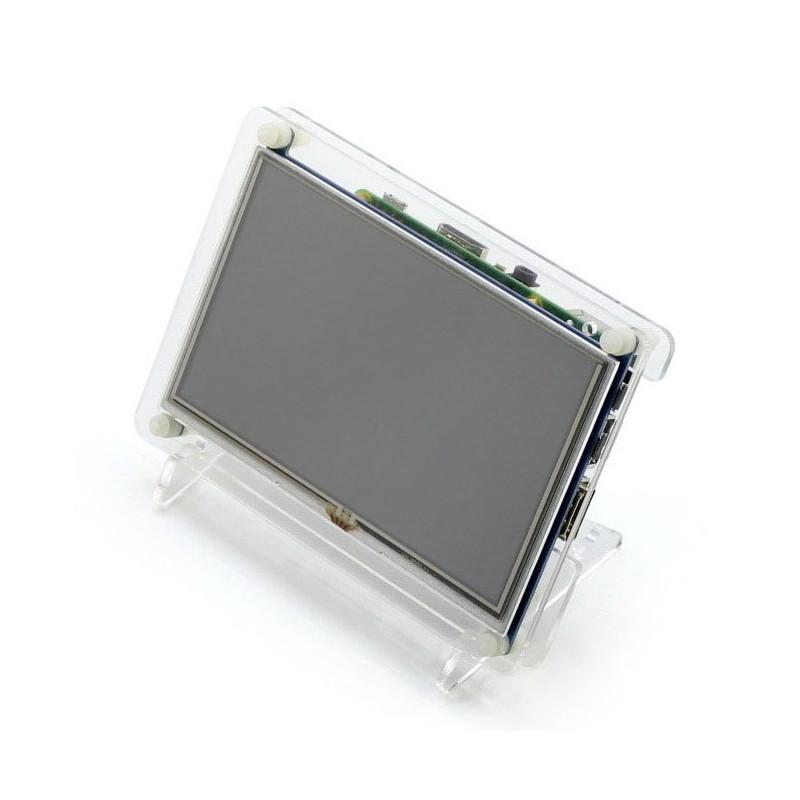 Ekran dotykowy rezystancyjny LCD TFT 5'' (B) 800x480px HDMI + USB Rev 2.1 dla Raspberry Pi + obudowa przezroczysta