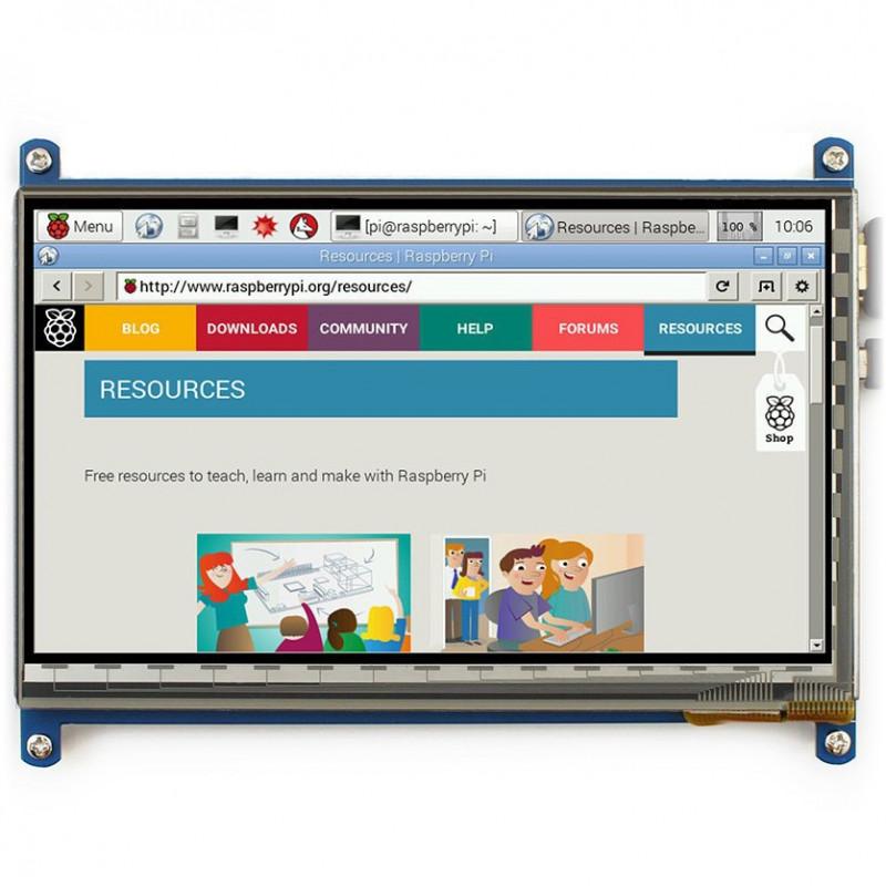 Ekran dotykowy pojemnościowy LCD TFT 7'' 800x480px HDMI + USB dla Raspberry Pi 3/2/B+