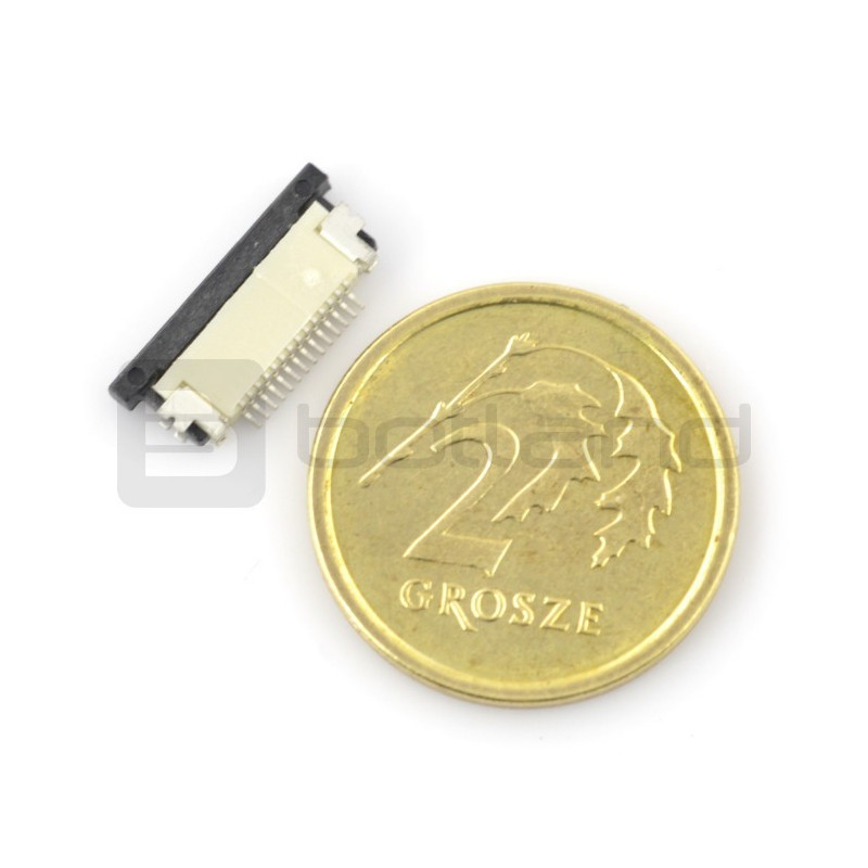 Female connector ZIF, FFC / FPC, horizontal 14 pin, pitch 0.5 mm, bottom contact