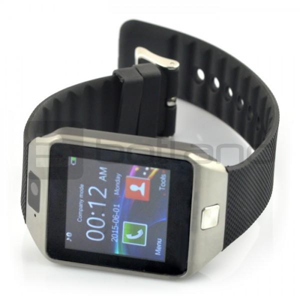 SmartWatch DZ09 SIM srebrny - inteligetny zegarek z funkcją telefonu