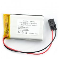 Akumulator Li-Pol Akyga 980mAh 1S 3.7V - złącze żeńskie 3-pin raster 2,54mm + taśma klejąca