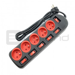 Power Strip Rainbow 5 Pro - 1,5m - black-red