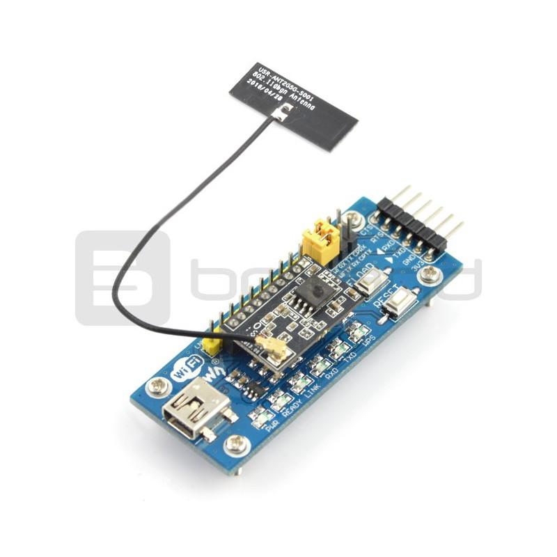 Płytka rozwojowa Waveshare z modułem WiFi LPT100, anteną i konwerterem USB-UART