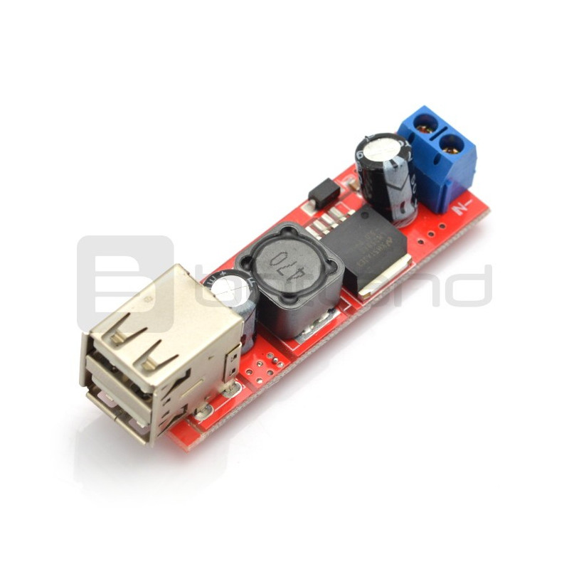 Przetwornica step-down LM2596S z dwoma gniazdami USB - 5V 3A
