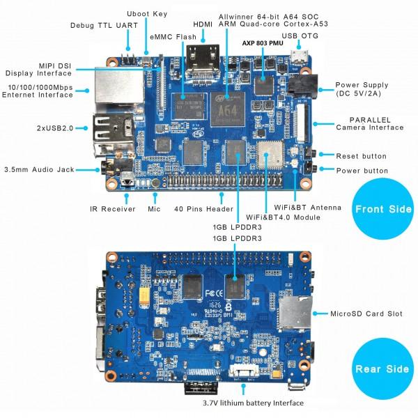 Banana Pi M64 2GB RAM + 8GB EMMC Quad-Core WiFi + BT 4 0*