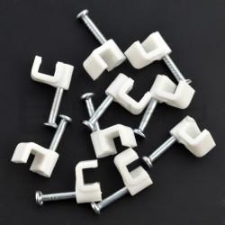 Zestaw uchwytów do przewodów płaskich 4/4mm - biały - 100szt.