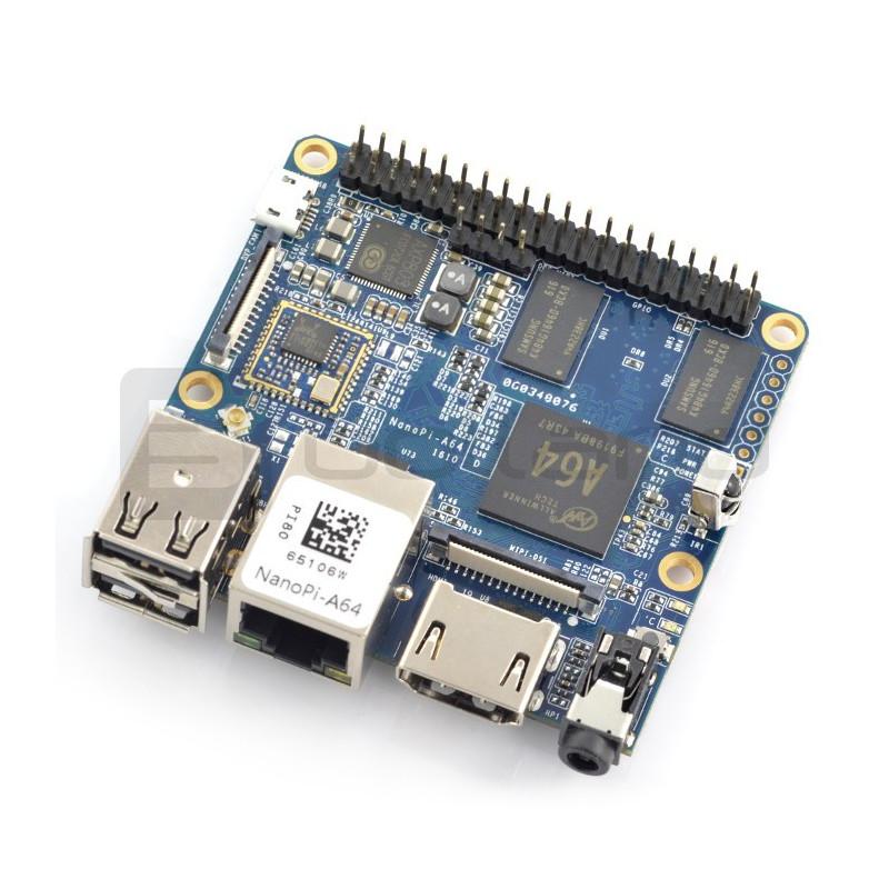 NanoPi A64 - Allwinner A64, Cortex A53, Quad-Core 1,15GHz + 1GB RAM