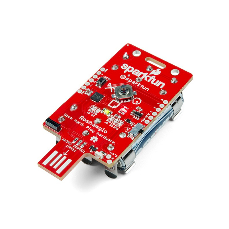 SparkFun Roshamglo Badge ATtiny84 - set for a game of rock, scissors, paper!*