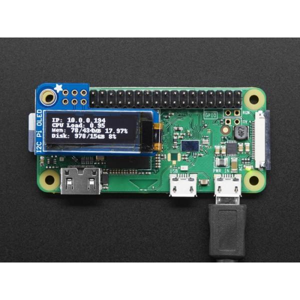 Adafruit PiOLED - wyświetlacz OLED 0,9'' 128x32px I2C - nakładka dla  Raspberry Pi