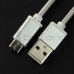 Przewód USB 2.0 typ A - USB 2.0 typ C - 1m srebrny z oplotem