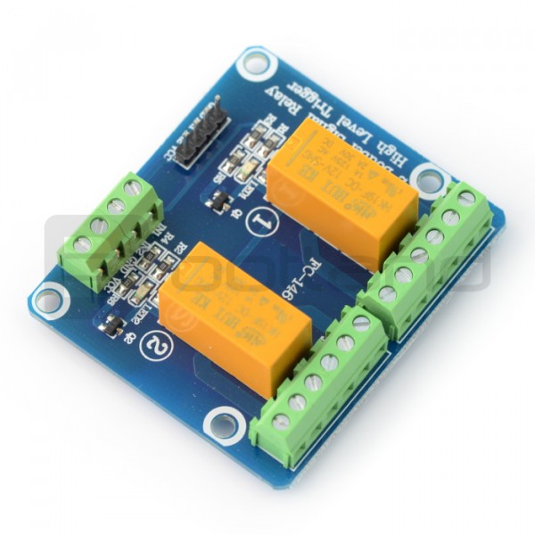 DPDT relay module 2 channels - 1A / 125VAC contacts - 12V coil