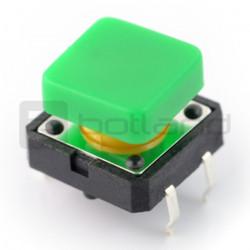 Tact Switch 12x12 mm z nasadką kwadratowy - zielony