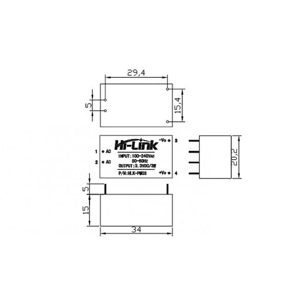 Zasilacz Hi-Link HLK-PM03 100V-240VAC / 3,3VDC - 1A