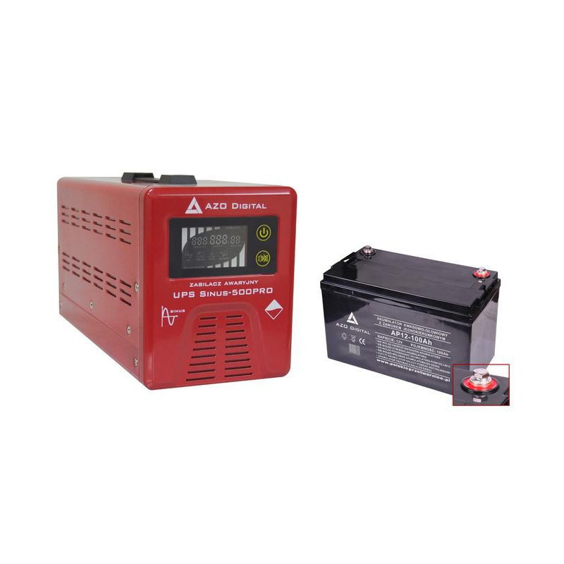 Uninterruptible power supply UPS + AVR 12V Sinus-500Pro 12V / 230V 500W + battery 12V / 100Ah VRLA AGM*