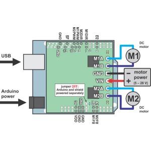Sposób podłączenia dwukanałowego sterownika silników z Arduino