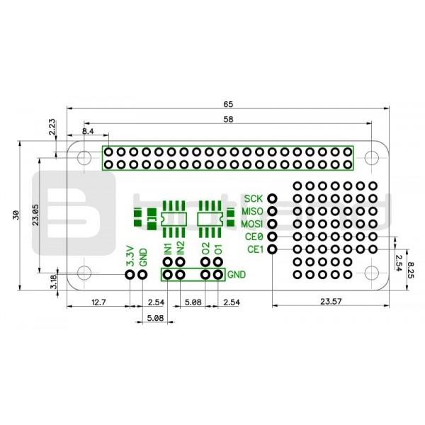 ADC-DAC Pi Zero MCP3203 + MCP4822 - przetwornik A/C i C/A 12-bit SPI -  nakładka dla Raspberry Pi