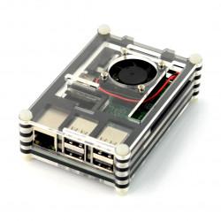 Obudowa Raspberry Pi Model 3B/2B - czarno-przezroczysta z wentylatorem