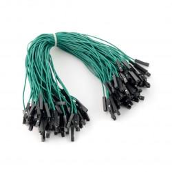 Przewody połączeniowe żeńsko-żeńskie 20cm zielone - 100 szt.