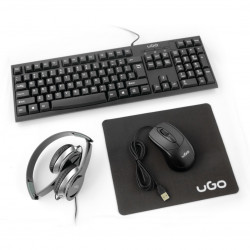 Zestaw biurowy 4w1 uGo - słuchawki+klawiatura+mysz+podkładka
