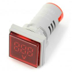 Woltomierz cyfrowy - LED 30x30mm - 500VAC - czerwony
