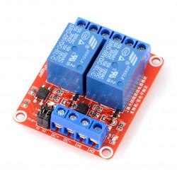 Dwukanałowy moduł przekaźników H/L z izolacją optoelektroniczną 5V 10A/125VAC