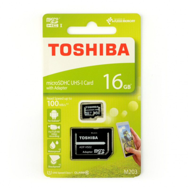 Karta pamięci Toshiba microSD 16GB 100MB/s UHS-I klasa 10 z adapterem