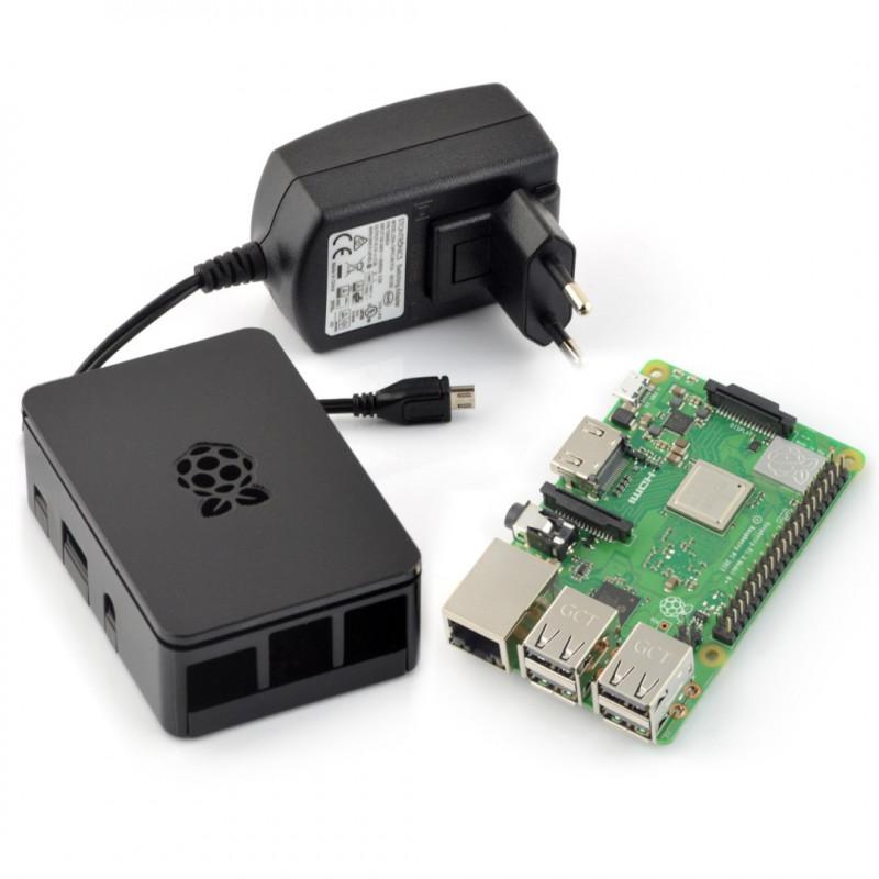 Zestaw Raspberry Pi 3B+ WiFi + obudowa RS Pro Plus z klapką + oryginalny zasilacz