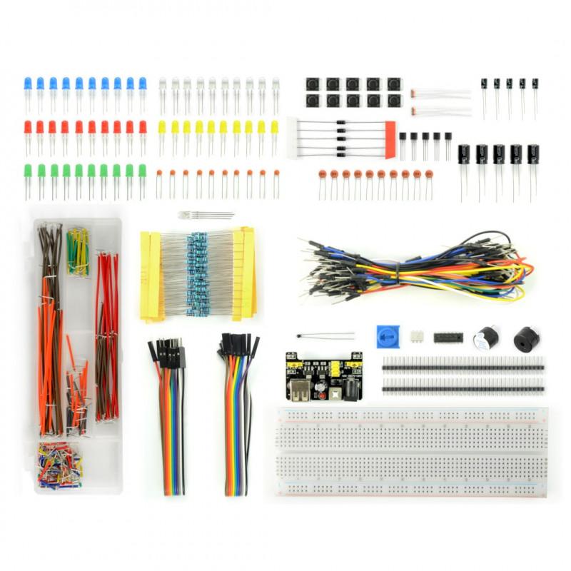 Zestaw elementów elektronicznych + płytka stykowa 830 - E23 - 830 elementów