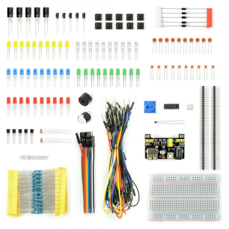 Zestaw elementów elektronicznych + płytka stykowa 400 - E24 - 235 elementów