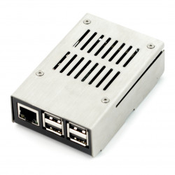 Obudowa Raspberry Pi 3 - metalowa srebrno czarna